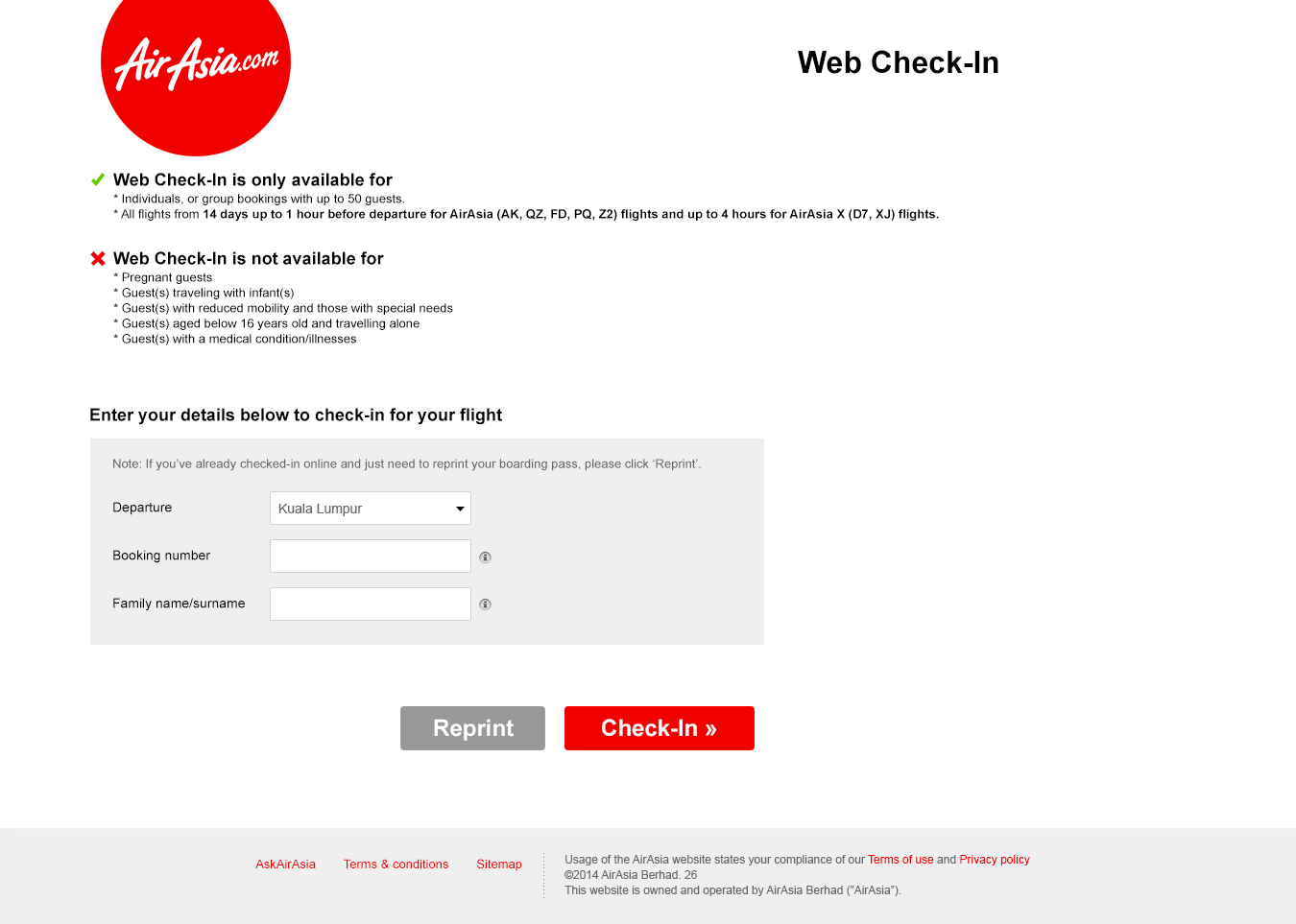 Web Check-in main screen