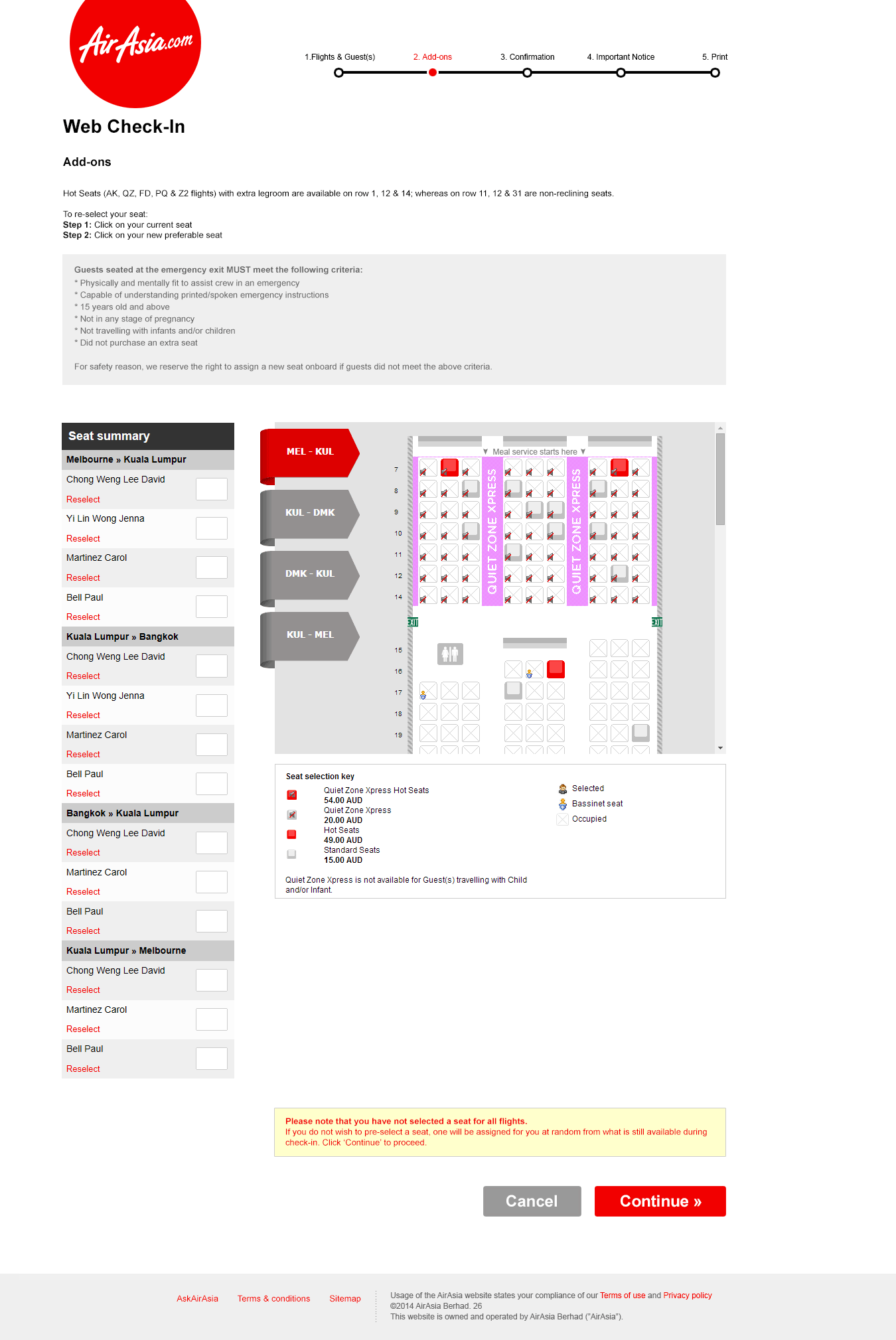 Web Check-in selecting seat for flights screen